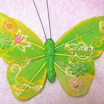Lime Green Butterfly Hair Clip, Hair Accessory, Hand Made