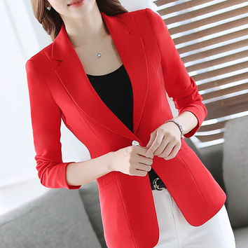 Casual Womens Plus Size Suits Blazers 2017 Casual Blazer For Ladies Women Office Business Suit Giacca Donna Leisure Suit 70N0035