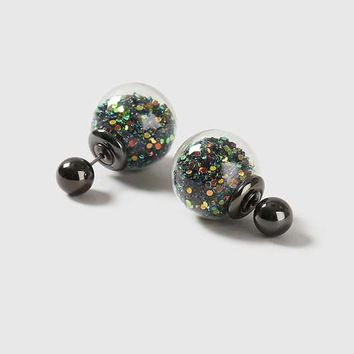 Glitter Shaker Ball Front And Back Earrings - Jewelry - Bags & Accessories