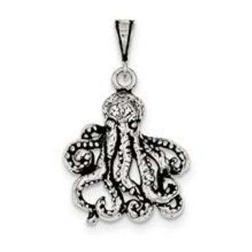 Antiqued Octopus Charm in Sterling Silver