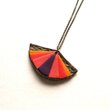 Colorful oriental fan necklace semi-circle polymer clay bronze dark purple pink orange sunny yellow rainbow pendant necklace warm colors