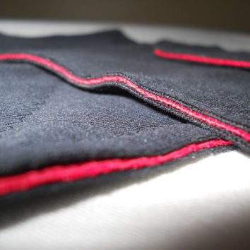 Kitchen Towel-Set of 3 Black Red Upcycled Bathroom Cleaning Cloth Washcloth Sponge Substitute Great Graduation Gift