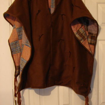 SURVIVAL Poncho Patchwork Poncho Mens Poncho Hippie Poncho Boho Poncho Festival Poncho Tribal Poncho Burning Man Bohemian Poncho Quilted
