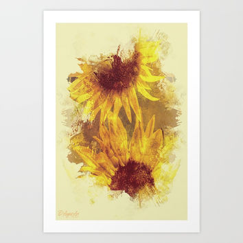 Peeping Sunflowers Art Print by Theresa Campbell D'August Art