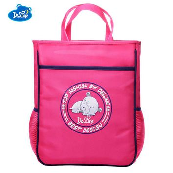High Quality 1-6 Grade Delune Kids Cartoon Bags Boys Girls Hand bag Art Tutorial Bag Nylon Animal Bear Print School Bags