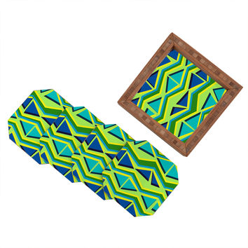 Sarah Bagshaw Blue And Green Geometric Coaster Set