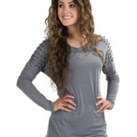 Rock & Roll Cowgirl Women's Grey Knit Top with Nailhead Detail