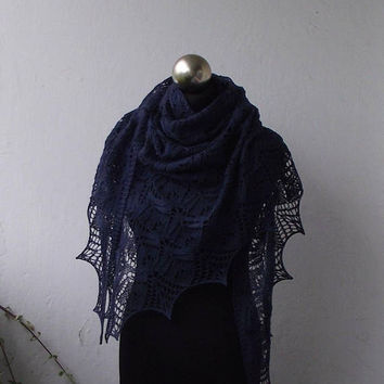 Navy Blue hand knitted   lace shawl