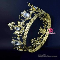 Full Round Gold Crown Tiara And Silver Plated For Men Women Cosplay King Prince Or Queen Vintage Hairwear Fashion Jewelry Tiaras Mo213 Macchar Cosplay Catalogue