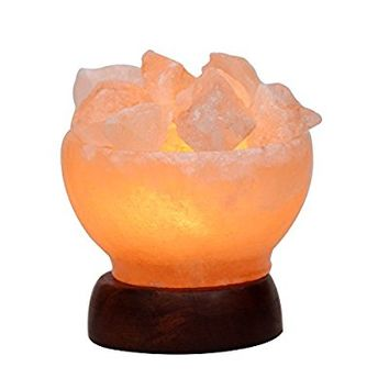 5inch 5-6Lbs Himalayan Salt Lamp Fire Bowl with Natural Crystal Salt Rock Chunks on Wood Base with Electric Wire & Bulb by Oumai