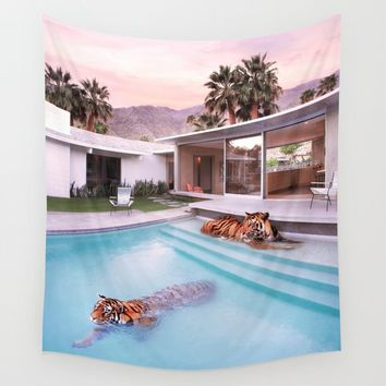 Palm Springs Tigers Wall Tapestry by paulfuentesphoto