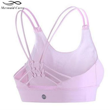 Mermaid Curve Women Shockproof Seamless  Sexy Sports Bra Back Bowknot Yoga Bra Push Up Padded Stretch Workout Top Bra
