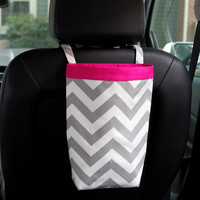 Car Trash Bag ~ Gray Chevron ~ Hot Pink Band ~ Headrest Handle ~ Oilcloth Lining