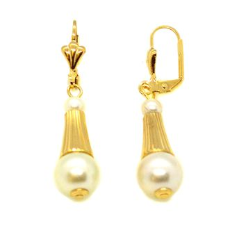 "(1-1039-h10) Gold Overlay Pearl Drop Earrings, 1-3/4""."