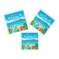 Aloha tropical beach with flamingo and flowers acrylic tray