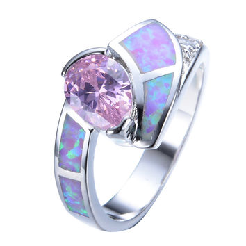 Fashion Water Drop Women Pink Fire Opal Ring White Gold Filled Crystal Jewelry Vintage Wedding Rings For Women RP0041