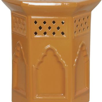 Moroccan-style Hexagon Stool In Brown Gold