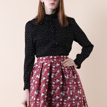 Polka Dots Tie-bow Crepe Top in Black