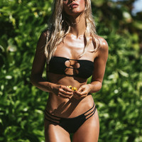 *PRE-ORDER* Indah | Moto Top x Melli Bottom Bikini Separates (Black Smocked)