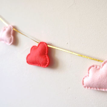 Cloud Garland, Coral and Pale Pink Clouds and Gold string, cloud bunting, banner, nursery decor, photo prop, baby shower gift, baby gift