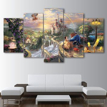 Home Decor Framed Wall Art HD Printed Poster Canvas 5 Panel Cartoon Castle Beauty And The Beast Living Room Pictures Painting