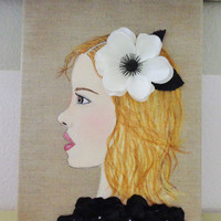 Girl Portrait Art - Mixed Media on Canvas - Blonde Hair - White Flower - Acrylic Painting - 11X14 inches