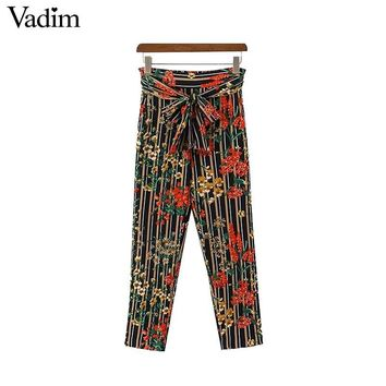 Women Vintage Floral Striped Pants Sashes Elastic Waist Ladies Casual Street Wear Ankle Length Trousers