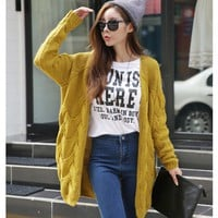 Women Autumn Winter Knitted Cardigans Coat O-Neck Solid Yellow Thick Loose Knitting Cardigan Sweater Fashion Cardigan pull femme