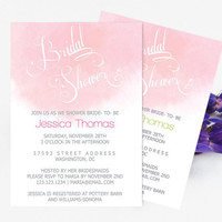 Watercolor Bridal Shower invitation Template - Coral Watercolor Calligraphy Handlettered Bridal Shower Editable PDF Template- DIY You Print