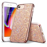 """iPhone 8 Case, iPhone 7 Case, ESR Glitter Bling Hard Cover with Dual Layer Structure [Hard PC Back Outer + Soft TPU Inner] for Apple 4.7"""" iPhone 8 /iPhone 7(Metallic Peach)"""