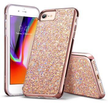 "iPhone 8 Case, iPhone 7 Case, ESR Glitter Bling Hard Cover with Dual Layer Structure [Hard PC Back Outer + Soft TPU Inner] for Apple 4.7"" iPhone 8 /iPhone 7(Metallic Peach)"