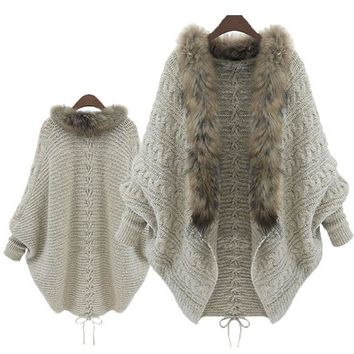 Knitted Cardigan Loose Sweater Fur collar Coat