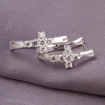 High Quality Jewelry 925 jewelry silver plated Cute Cross  Earrings for Women