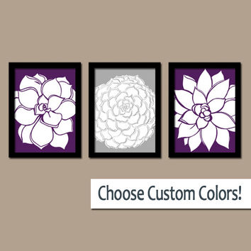 Purple Gray Wall Art Artwork Flower Bedroom Bathroom Picture Floral Dahlia Bloom Petals Set of 3 Trio Prints Home Decor Three