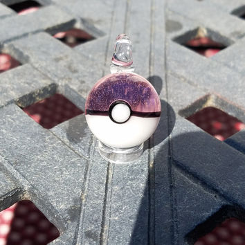 Translucent Pink Glass Pokeball Pendant