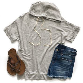 Heather Gray Short Sleeve Hoodie
