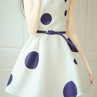 Sleeveless High Waist Big Circle Print A Line Mini Dress