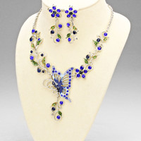 Blue Butterfly Flower Statement Necklace