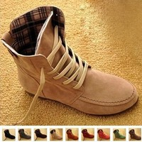 New Women Flat Ankle Snow Motorcycle Boots Female Suede Leather Lace-Up Martin Boot Pl
