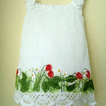 Baby Dress white Knitted Baby Dress Crochet baby dress Baby girl dress baby outfit Clothes Holiday dress Infant Crochet Baptism dress