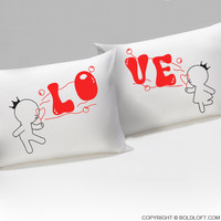 Bubbling With Love For You™ His & Hers Couple Pillowcase Set