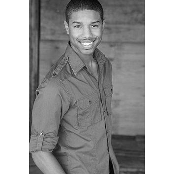 Michael B Jordan poster Metal Sign Wall Art 8in x 12in Black and White
