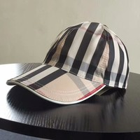 Burberry Fashion New Stripe Plaid Women Men Baseball Cap
