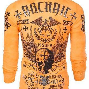 Licensed Official Archaic AFFLICTION Men THERMAL T-Shirt BLACK PLAYER Motorcycle Biker MMA UFC $58