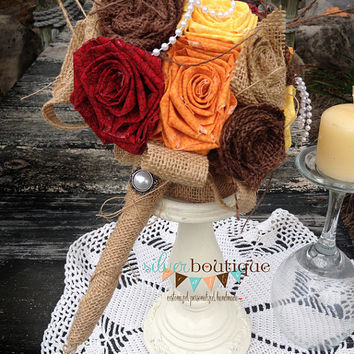 Burlap Bouquet, Wedding Burlap Bouquet, Fall Burlap Bouquet, Rustic Burlap Bouquet, Burlap, Wedding, Bride, Groom, Favor, Pearl