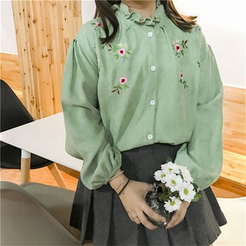 New 2017 Korean style Summer Spring Cute Floral Embroidery Blouse Ruffled Collar Shirt Kawaii Blusas Women Tops 72517