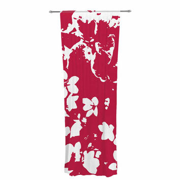 "Love Midge ""Helena Floral Magenta"" Red White Decorative Sheer Curtain"