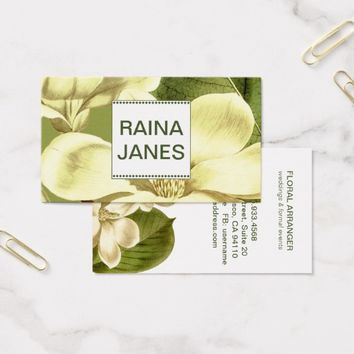 Magnolia Flowers Monogram Floral Arranger Florist Business Card