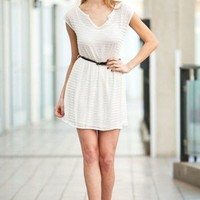 White Braided Belted Dress - Diva Hot Couture