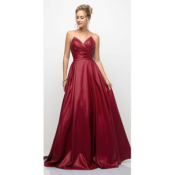 Long Strapless Ball Gown Burgundy Pointed Sweetheart Pleated Bodice